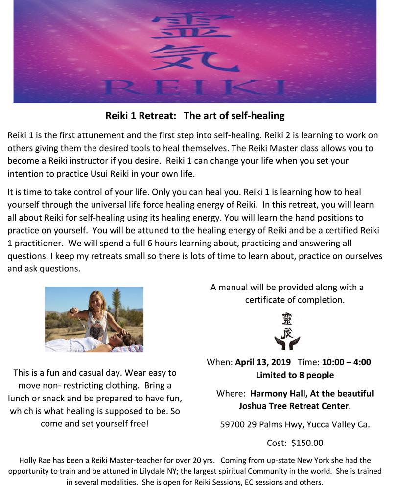 Reiki one class April 13